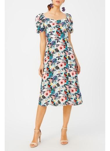 Random Kadın Kol Detaylı Desenli Elbise Pembe